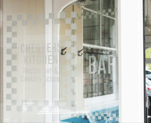 Chequers Kitchen (door decals)
