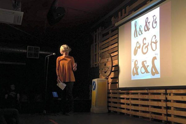 Lydia Thornley speaking at Nerd Nite, London
