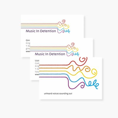 Music in Detention - business cards (graphic design work by Studio Lydia Thornley)